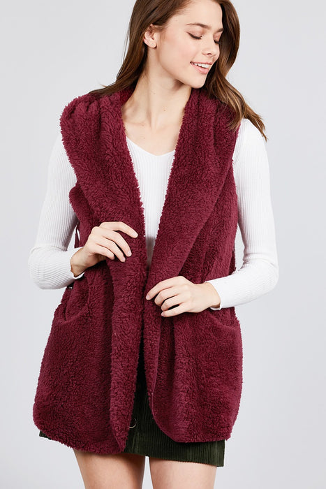EVAVON Womens Plus Size Open Front W/hoodie Faux Fur Vest - Oasisincentives