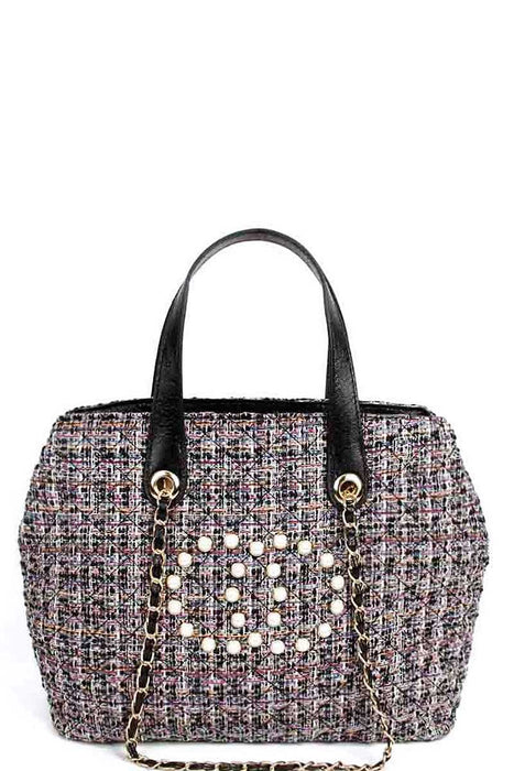 EVAVON Womens Chic Rough Fabric Woven Satchel Handbag With Linked Chain - Oasisincentives