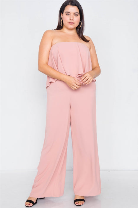 EVAVON Womens Plus Size Fashion Apparel Off-the-shoulder Flounce Wide Leg Jumpsuit - Oasisincentives