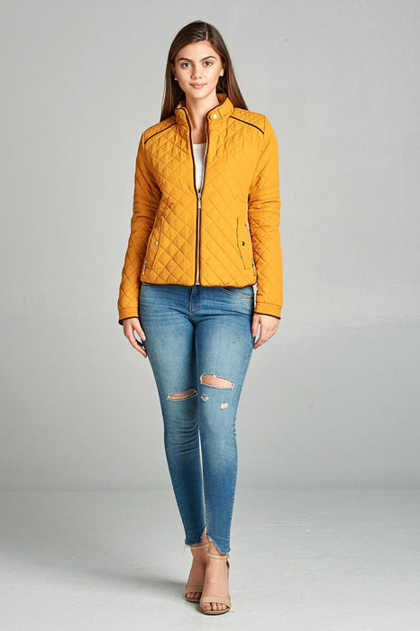 EVAVON Womens Plus Size Quilted Padding Jacket With Suede Piping Details - Oasisincentives