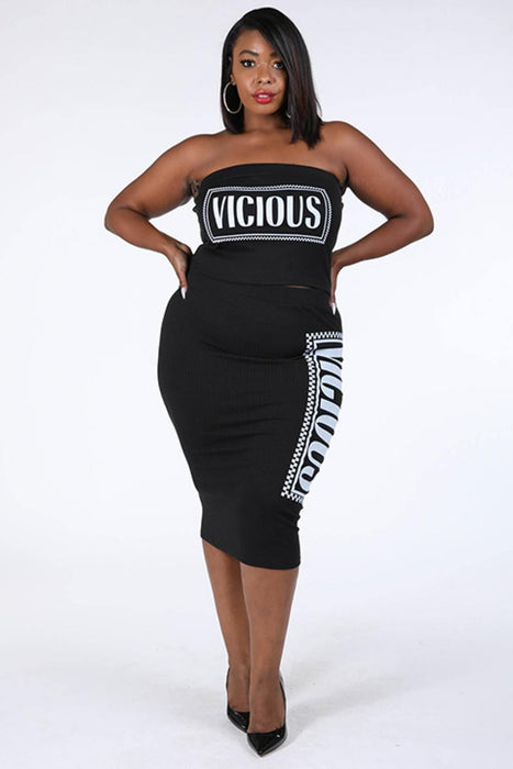 EVAVON Womens Plus Size Fashion Apparel Vicious Printed Skirt Set - Oasisincentives