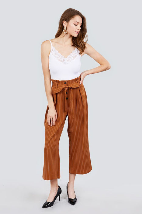 EVAVON Womens Apparel Button Down Paperbag Cullote Stripe Pants - Oasisincentives