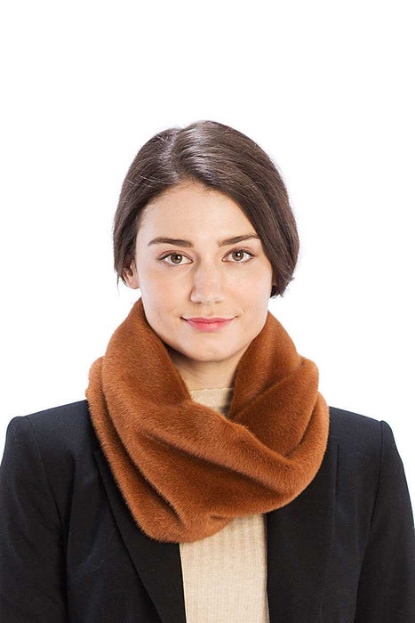 EVAVON Womens Apparel Solid Color Faux Mink Fur Infinity Scarf - Oasisincentives
