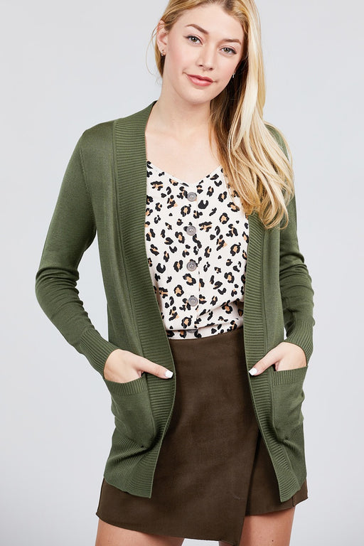 EVAVON Womens Plus Size Long Sleeve Rib Banded Open Sweater Cardigan W/pockets - Oasisincentives