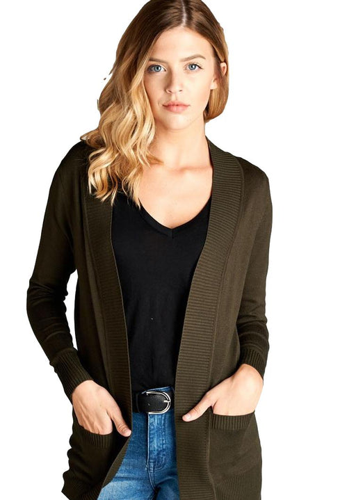 EVAVON Womens Plus Size Long Sleeve Rib Banded Open Sweater Cardigan W/pockets Olive- Oasisincentives
