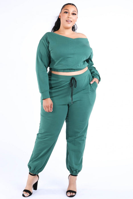 EVAVON Womens Plus Size Fashion Apparel Casual Crop Jogger Set - Oasisincentives