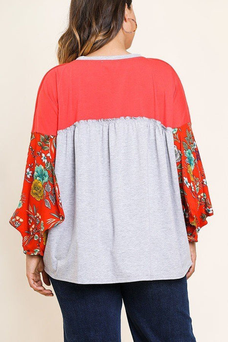EVAVON Womens Plus Size Floral Print Puff Sleeve Round Neck Heathered Top - Oasisincentives