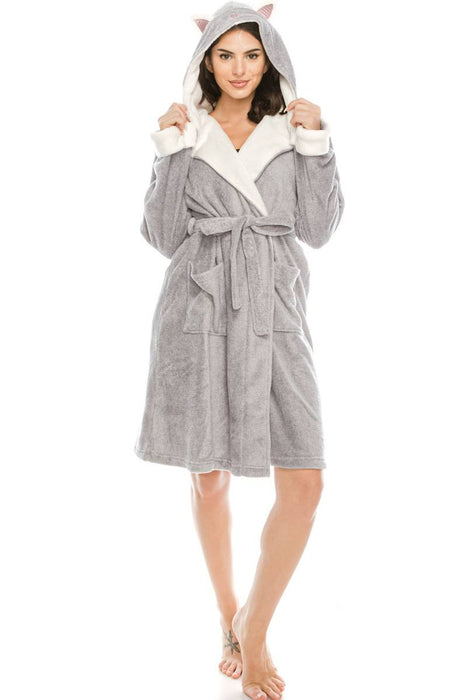 EVAVON Womens Apparel Sleepwear Grey Robe with Hoodie - Oasisincentives