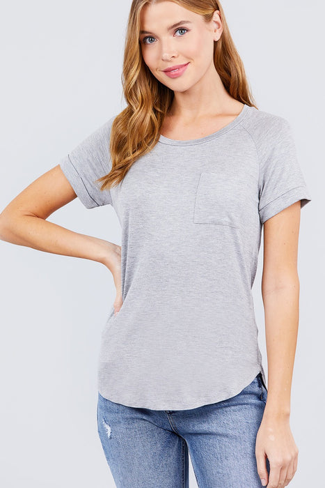 EVAVON Womens Apparel Short Raglan Sleeve Round Neck W/pocket Rayon Spandex Top - Oasisincentives