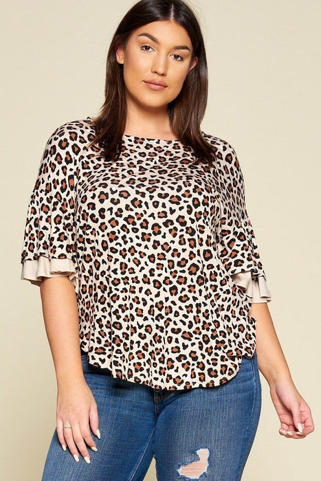EVAVON Womens Plus Size Animal Print Swing Tunic Top With Contrast Color Block Bell Sleeves - Oasisincentives