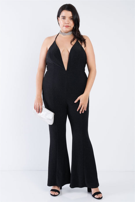 EVAVON Womens Plus Size Fashion Apparel Black Sequin Criss Cross Open Back Jumpsuit - Oasisincentives