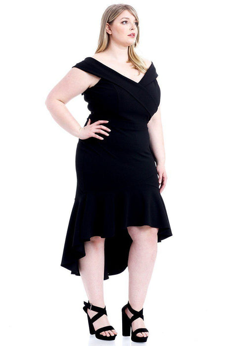 EVAVON Womens Plus Size Techno Crepe Stretch Off The Shoulder Dress - Oasisincentives