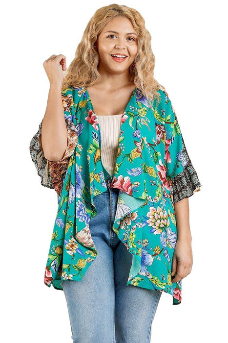 EVAVON Womens Plus Size Fashion Apparel Floral Mixed Print Ruffle Bell Sleeve Open Front Kimono With Side Slits - Oasisincentives
