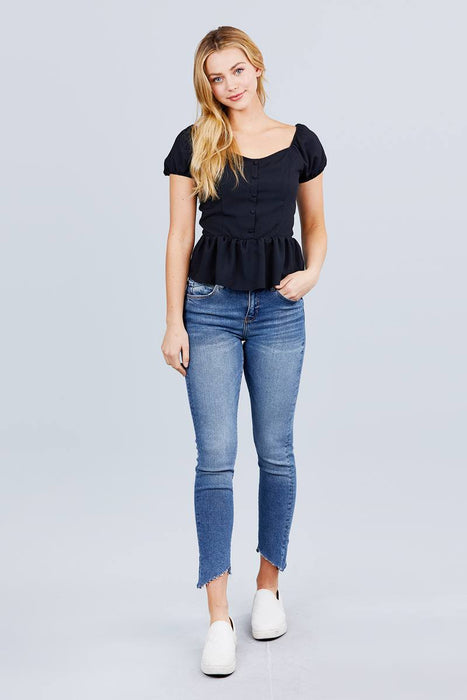 EVAVON Womens Apparel Short Sleeve Heart Neck W/button Back Smocking Detail Flare Hem Woven Top - Oasisincentives