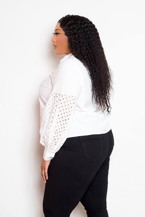 EVAVON Womens Plus Size Fashion Apparel Blouse With Punched Sleeves - Oasisincentives