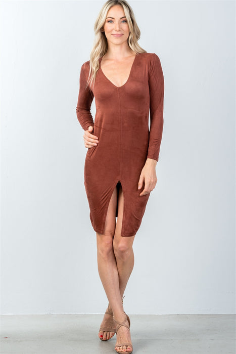EVAVON Womens Fashion Apparel Rust Front Slit Bodycon Mini Dress - Oasisincentives