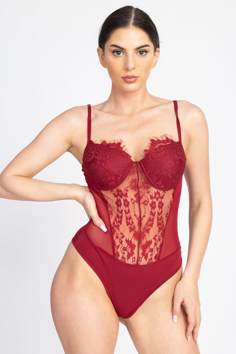 EVAVON Womens Apparel Sheer Mesh Lace Teddy - Oasisincentives