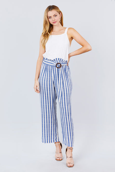 EVAVON Womens Apparel Straight Neck Waist Belted Stripe Long Jumpsuit - Oasisincentives