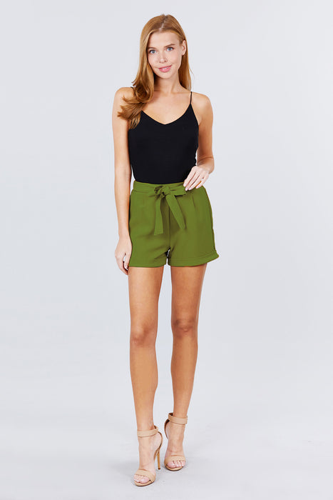 EVAVON Womens Apparel Front Tie W/elastic Band Short Pants - Oasisincentives