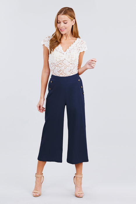 EVAVON Womens Apparel Fake Pocket W/button Detail Wide Long Leg Linen Pants - Oasisincentives