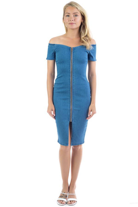 EVAVON Womens Fashion Apparel Off Shoulder Zip-front Denim Dress - Oasisincentives