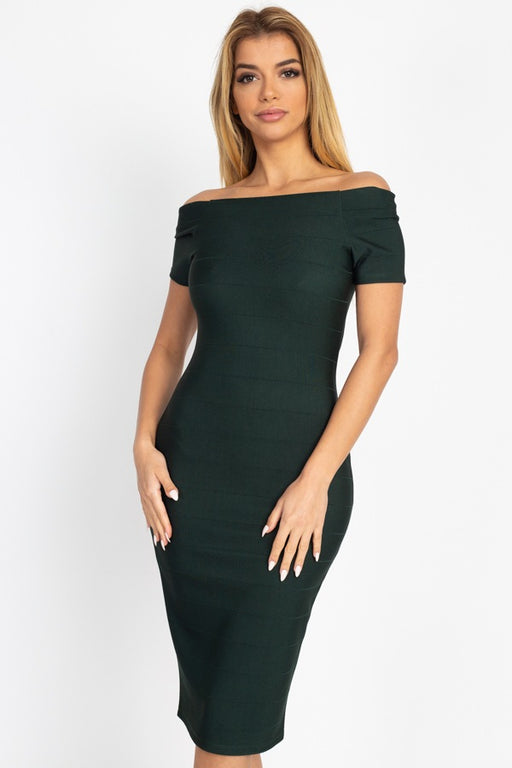 EVAVON Womens Fashion Apparel Off The Shoulder Bandage Dress - Oasisincentives