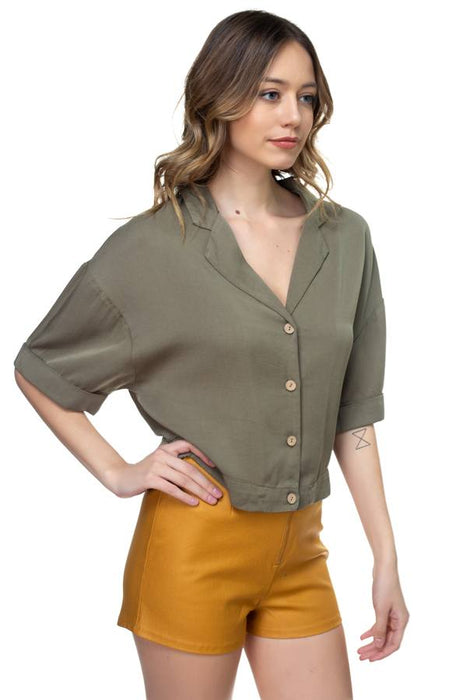 EVAVON Womens Apparel Boxy Button Down Shirt - Oasisincentives