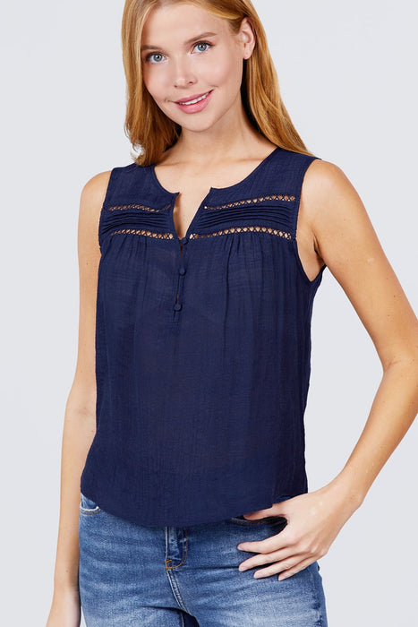 EVAVON Womens Apparel Sleeveless Front Pleats Detail W/button Woven Top - Oasisincentives