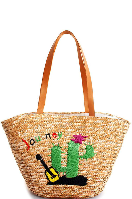 EVAVON Womens Natural Straw Woven Cactus Shopper Bag - Oasisincentives
