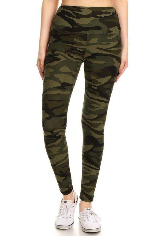 EVAVON Womens Activewear Long Yoga Style Banded Lined Olive Camo Print, Full Length Leggings - Oasisincentives