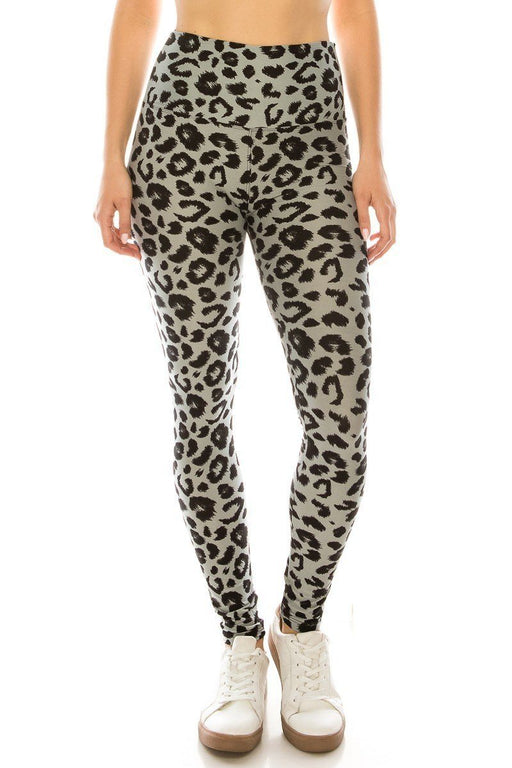 EVAVON Womens Activewear Long Yoga Style Banded Lined Leopard Animal Printed Knit Legging With High Waist. - Oasisincentives