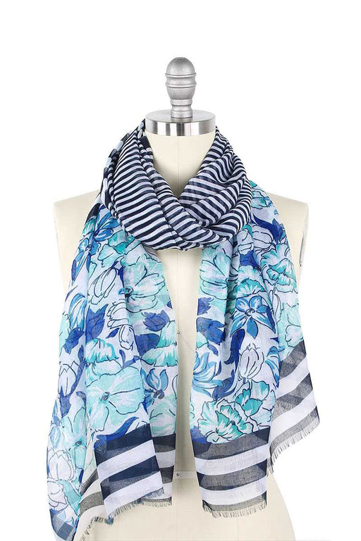 EVAVON Womens Fashion Accessory Flower Stripe Print Scarf - Oasisincentives