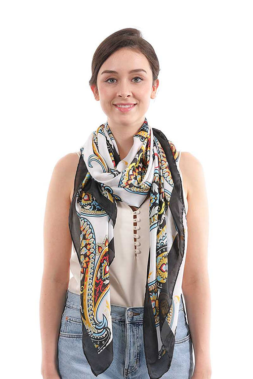 EVAVON Womens Fashion Accessory Paisley Pattern Silky Scarf - Oasisincentives