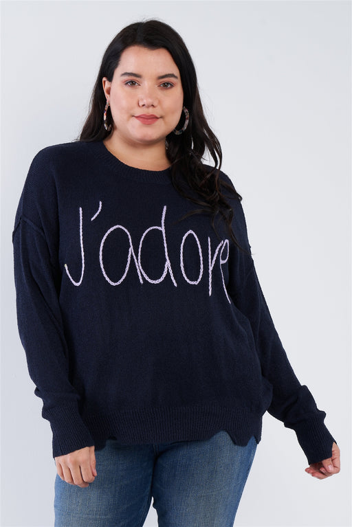 EVAVON Womens Plus Size Fashion Apparel  Jadore Script Knit Relaxed Fit Sweater - Oasisincentives