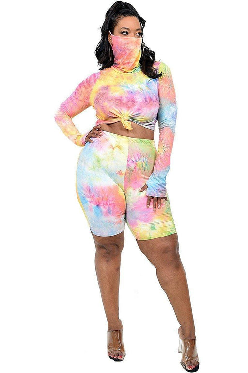 EVAVON Womens Plus Size Fashion Apparel Pastel Color Tie-Dye 2 PC. Top and Short Set with Face Covering - Oasisincentives