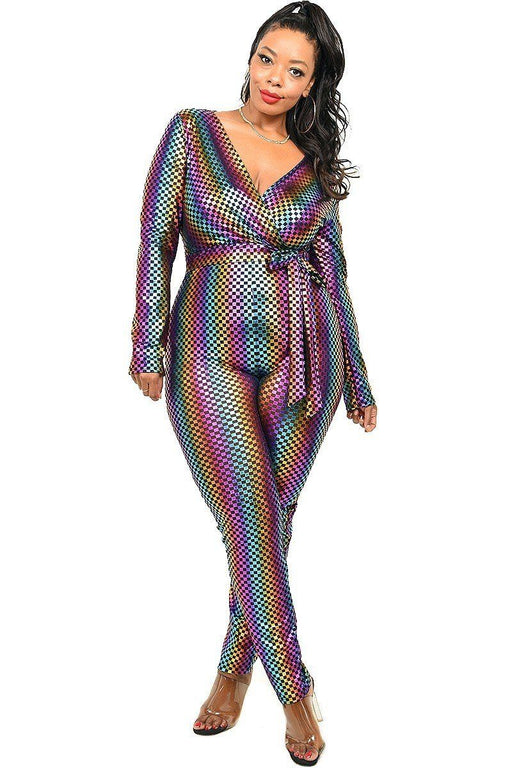 EVAVON Womens Plus Size Fashion Apparel Sequin Striped Surplice Jumpsuit - Oasisincentives