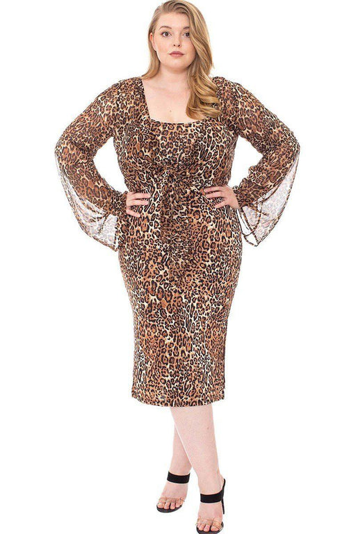 EVAVON Womens Plus Size Fashion Apparel Leopard Print Cardigan & Dress Set - Oasisincentives