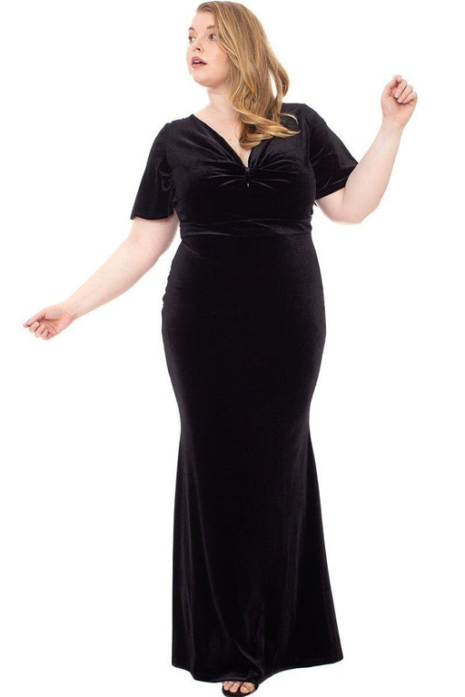 EVAVON Womens Plus Size Fashion Apparel Stretch Velvet Bow Front Deep V-Neck Dress - Oasisincentives