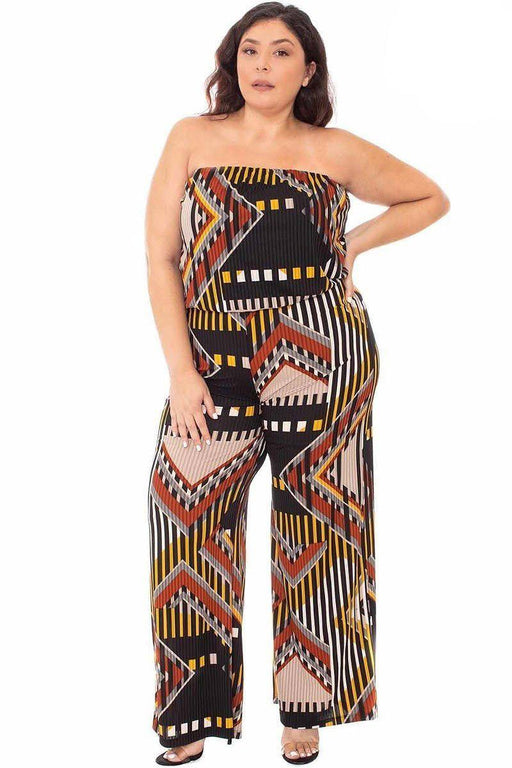 EVAVON Womens Plus Size Fashion Apparel Abstract Print Tube Top Jumpsuit - Oasisincentives