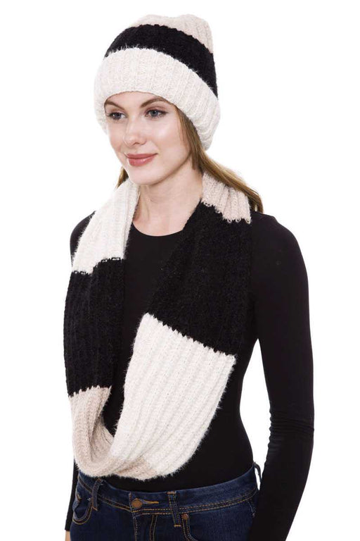 EVAVON Womens Apparel Accessories Stripe Pattern Infinity Scarf And Knit Hat Set - Oasisincentives
