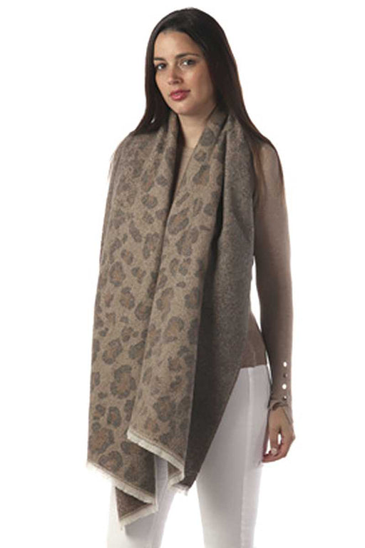 EVAVON Womens Apparel Accessories Beige Animal Print Oblong Scarf - Oasisincentives