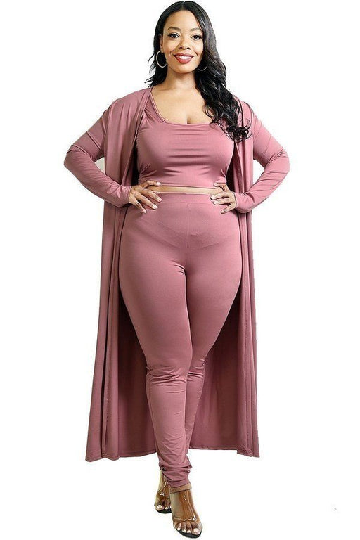 EVAVON Womens Plus Size Fashion Apparel Solid 3 Piece Legging Set - Oasisincentives