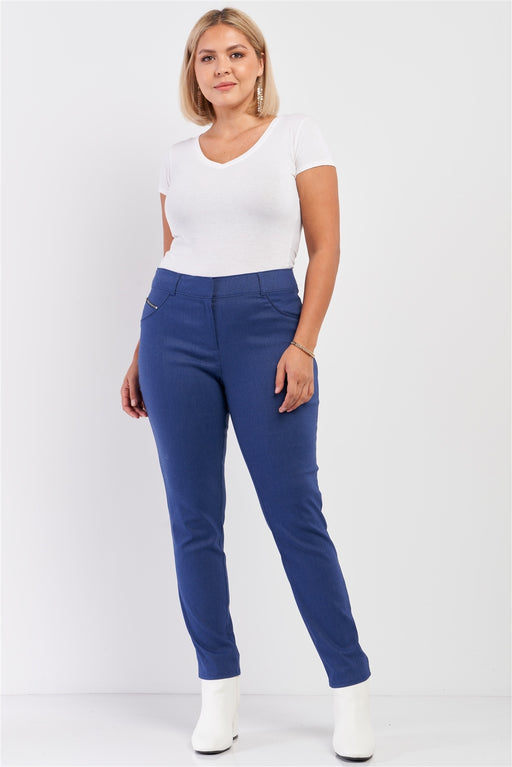 EVAVON Womens Plus Size Fashion Apparel Medium Blue Mid-rise Denim Legging Slim Fit Pants - Oasisincentives