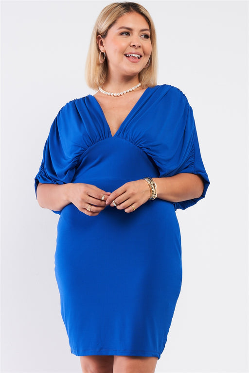 EVAVON Womens Plus Size Fashion Apparel Royal Blue Ruched Short Sleeve V-Neck Empire Waist Mini Dress - Oasisincentives