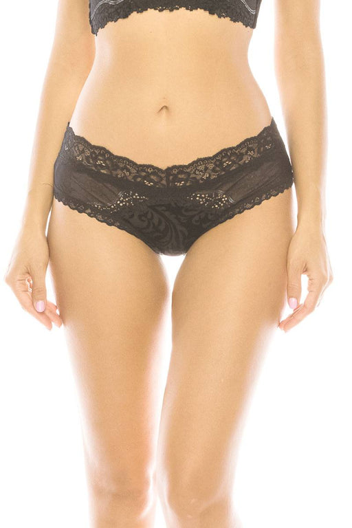 EVAVON Womens Intimate Apparel Floral Pattern Velvet Hipster  With Lace Trim - Oasisincentives