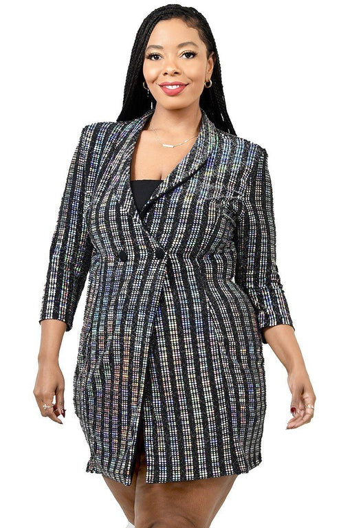 EVAVON Womens Plus Size Fashion Apparel Metallic Stripe Jacket Dress - Oasisincentives