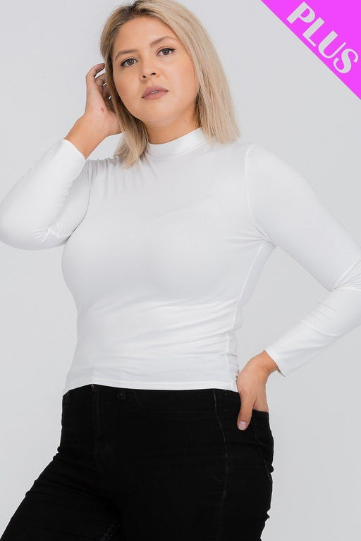 EVAVON Womens Plus Size Fashion Apparel Mock Neck Solid Top - Oasisincentives