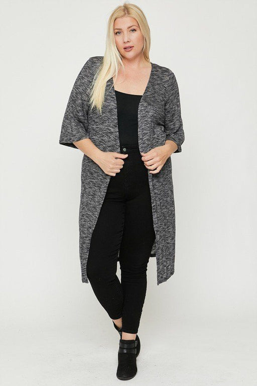 EVAVON Womens Plus Size Fashion Apparel Two Tone Knit Cardigan - Oasisincentives