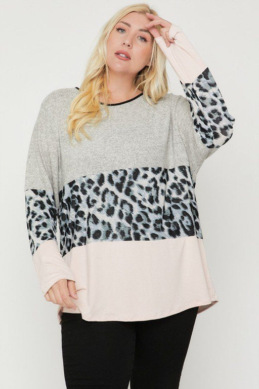 EVAVON Womens Plus Size Fashion Apparel Color Block Top Featuring A Leopard Print Top - Oasisincentives
