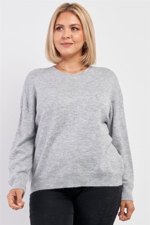EVAVON Womens Plus Size Fashion Apparel Heather Grey Soft Ribbed Fleece Long Sleeve Sweater Heather Grey Oasisincentives
